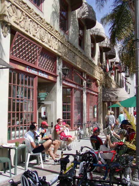 People sitting outside a cafe in downtown Ventura, California